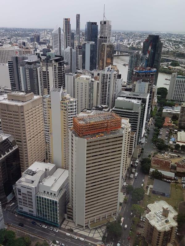 Brisbane City looking down Margaret Street and on to Brisbane River (taken 2017)