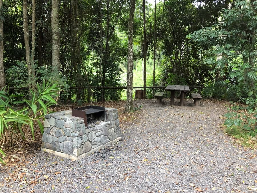Picnic tables and BBQs in the day use area