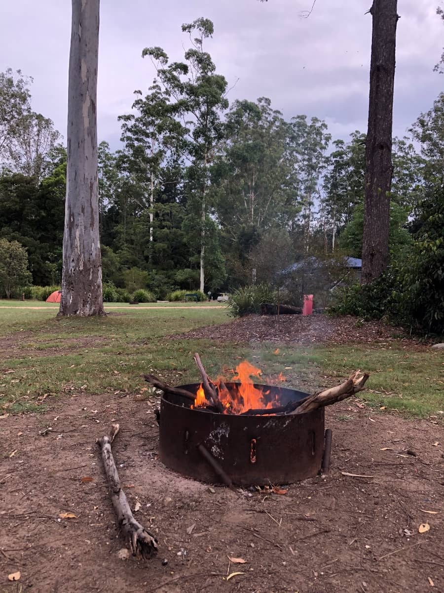 Campfire at camp site